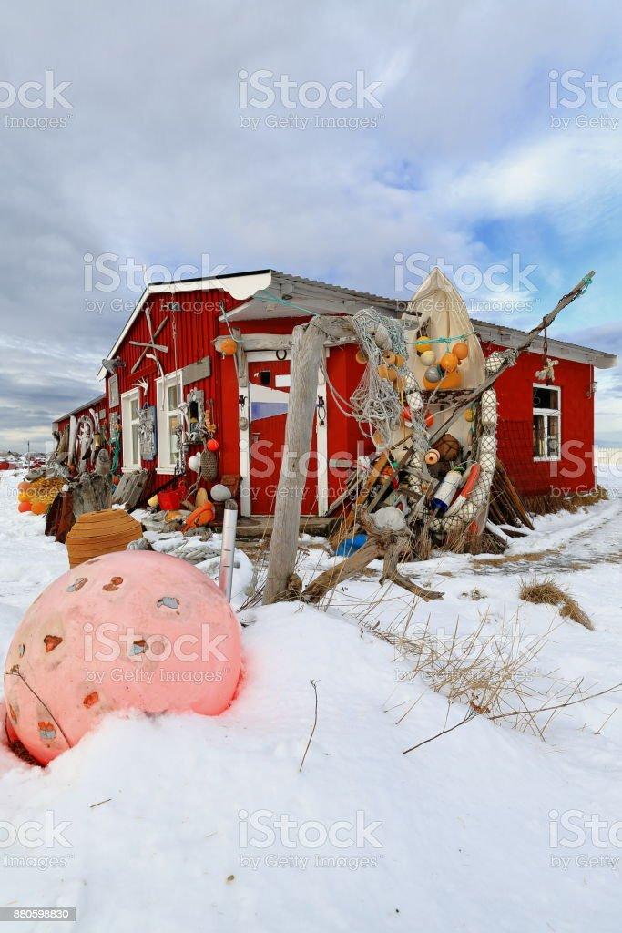 Eccentric ornate on rorbu-traditional fishing hut exterior. Straumnes-Vagan-Austvagoya-Lofoten-Norway. 0621 stock photo