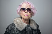 eccentric senior lady with cool attitude portrait