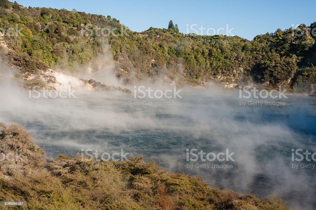 Echo Crater and Frying Pan Lake in Rotorua stock photo