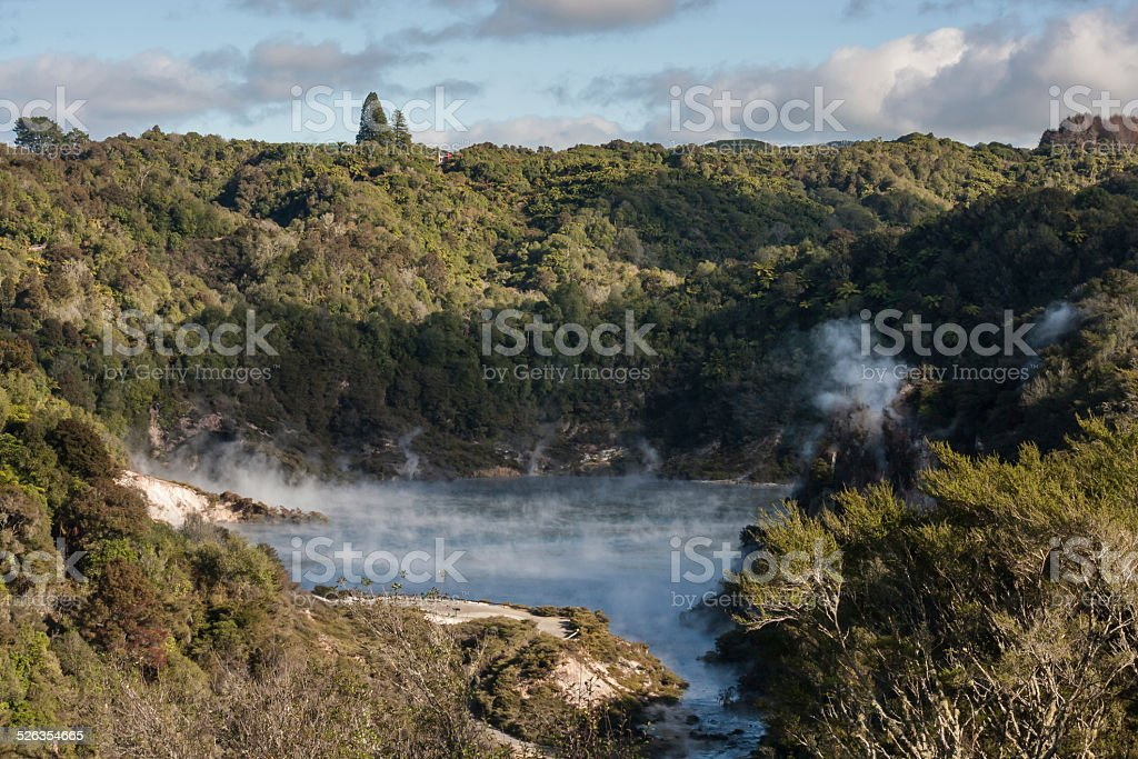Echo Crater with Frying Pan Lake stock photo