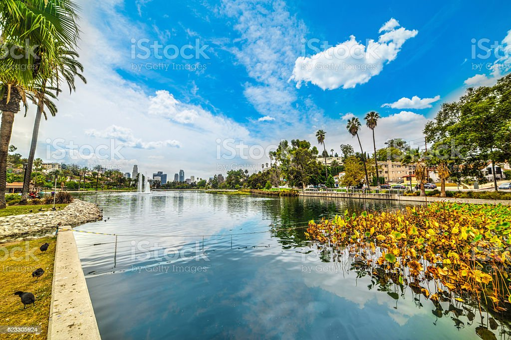 Echo park in Los Angeles stock photo
