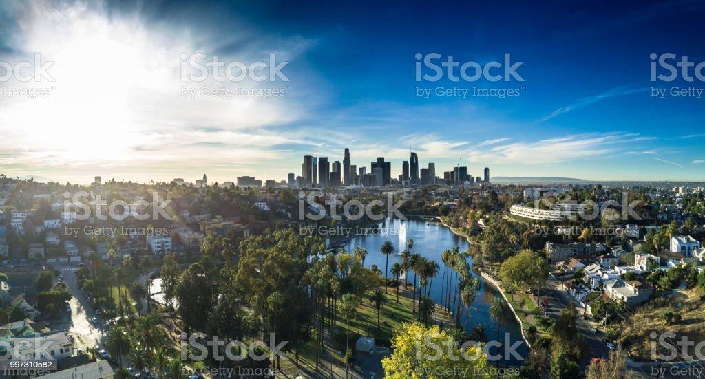 Echo Park, Los Angeles - Aerial Panorama stock photo