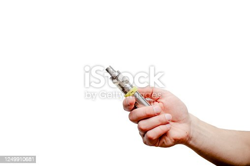 istock E-cigarette in male  hand holding electronic cigarette or vape device iolated on white background 1249910681