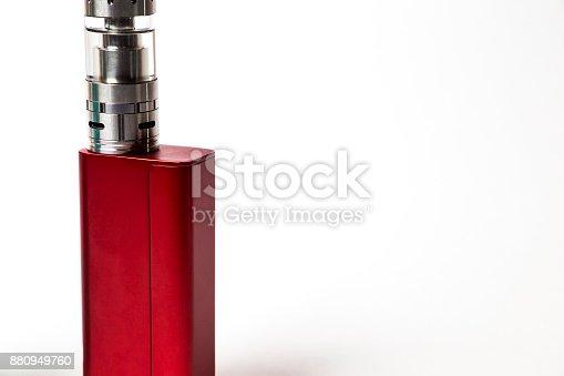 864217444 istock photo e-cigarette (electronic cigarette, vape) isolated on the white background 880949760