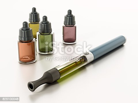 1137088939 istock photo E-cigarettes and spare liquid bottles isolated on white 825100048