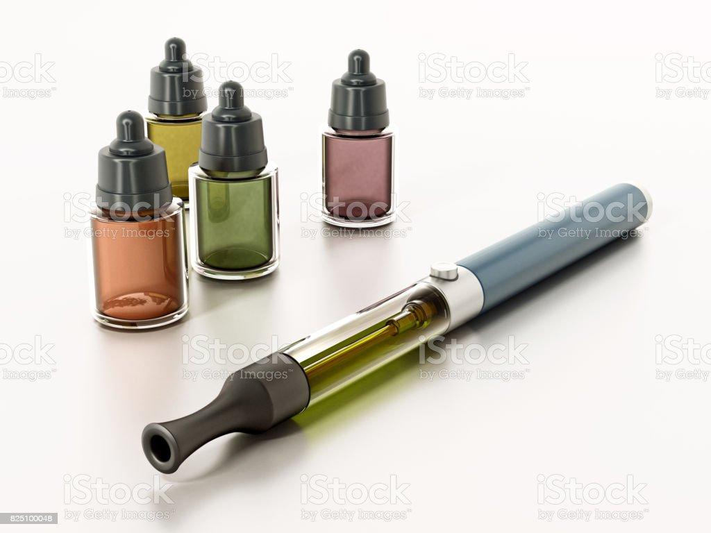 E-Zigaretten und freie Flüssigkeit Flaschen isoliert auf weiss – Foto