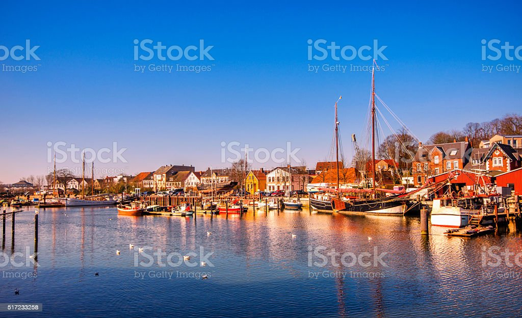 Eckernförde - Old harbour and waterfront stock photo
