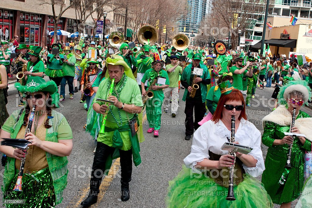 Eclectic Band In Green Plays During St. Patrick's Parade stock photo