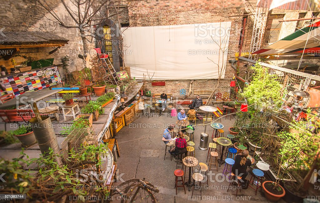Eclectic terrace - Budapest stock photo