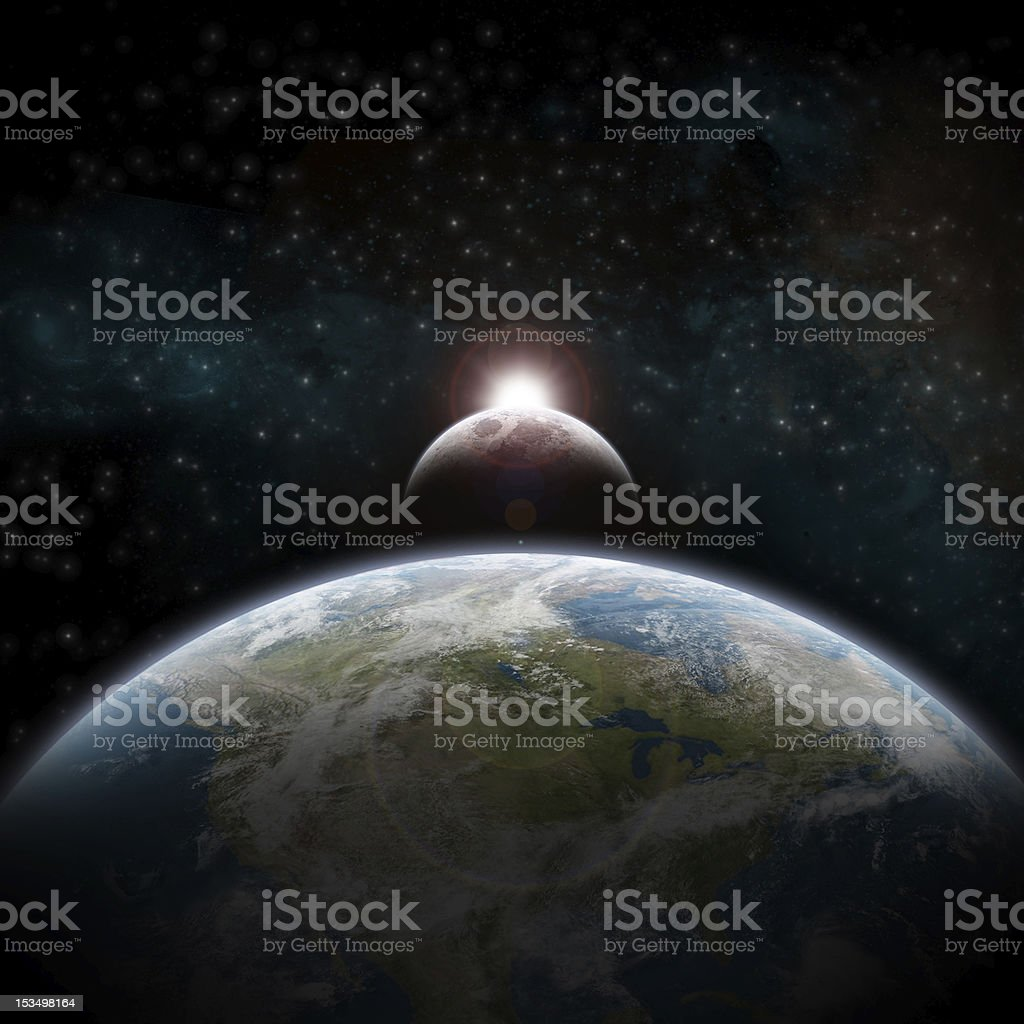 Eclipse over the USA stock photo