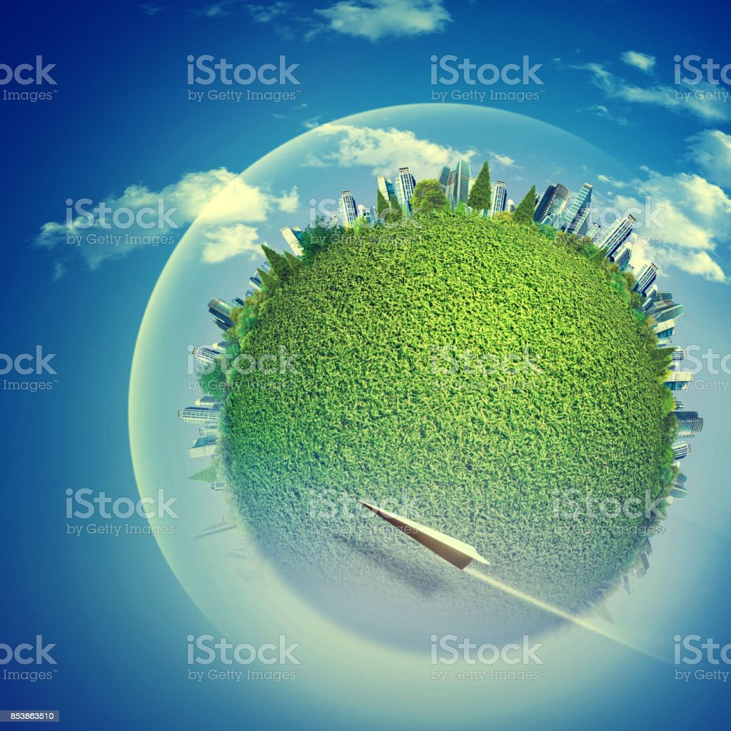 Eco backgrounds with Earth globe and flying jet over blue skies stock photo