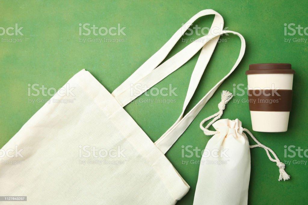 Eco bag and reusable bamboo cup stock photo