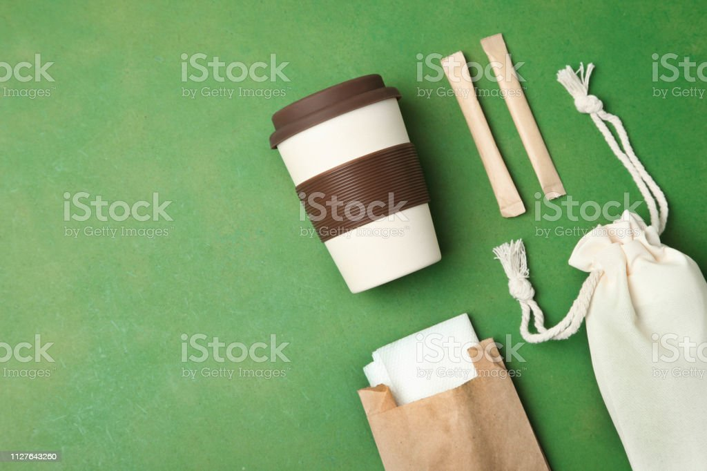 Eco bag, reusable bamboo cup and craft packages stock photo