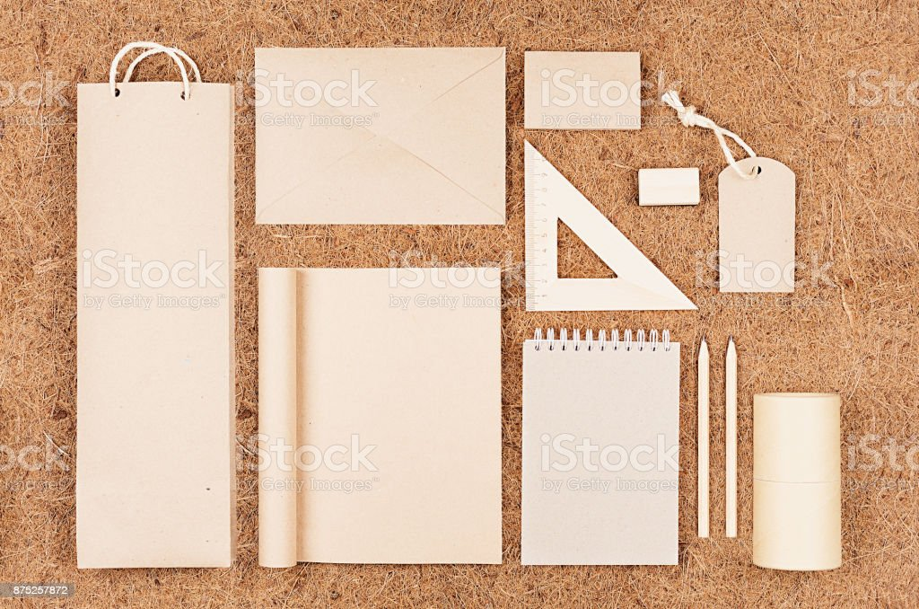 Eco Blank Packaging Stationery Gifts Of Kraft Paper On Brown Coconut ...