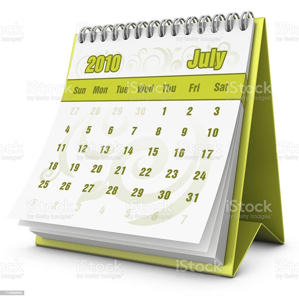 eco calendar July 2010 royalty-free stock photo