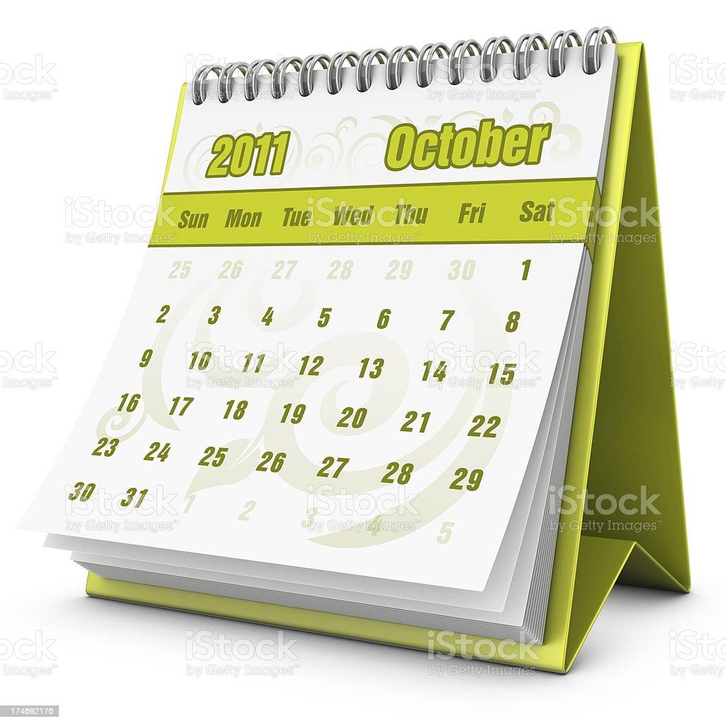 eco calendar October 2011 royalty-free stock photo