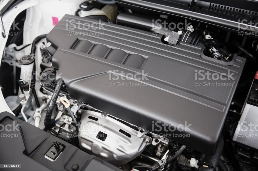 eco car small type engine clean new closeup stock photo