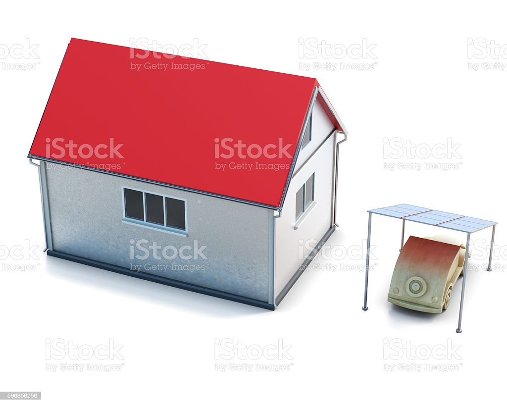 Eco concept house top view on white background. royalty-free stock photo