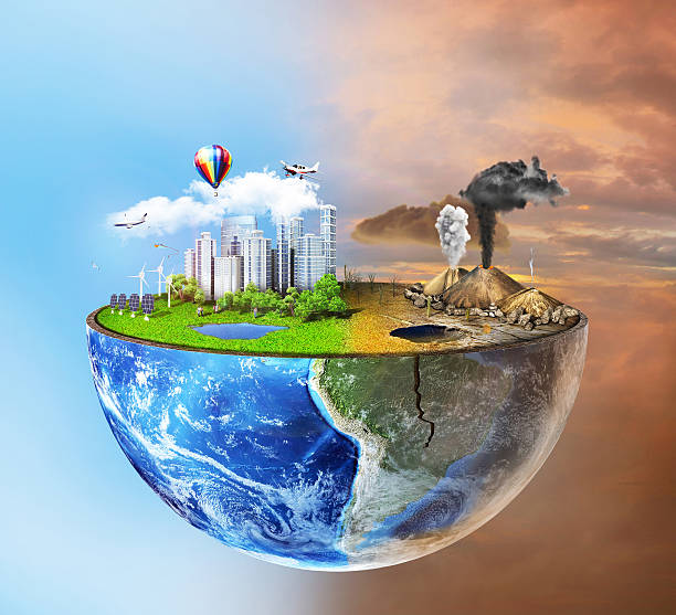 eco concept. - pollution stock photos and pictures