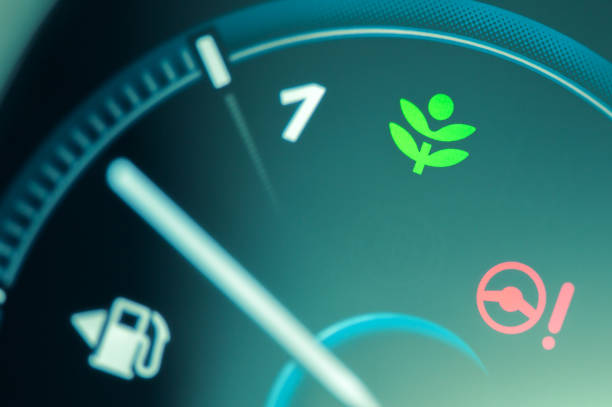 Eco drive light icon on car dashboard. Eco drive light icon on car dashboard. Eco-driving concept biofuel stock pictures, royalty-free photos & images