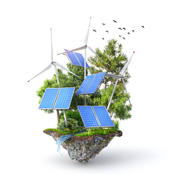 Eco energy. Solar panels with wind stations on the island. 3d illustration stock photo