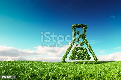 istock Eco friendly, bio, no waste, zero pollution, pesticide free agriculture or/and biofuel concept. 3d rendering of thumbs up icon on fresh spring meadow with blue sky in background. 959895444