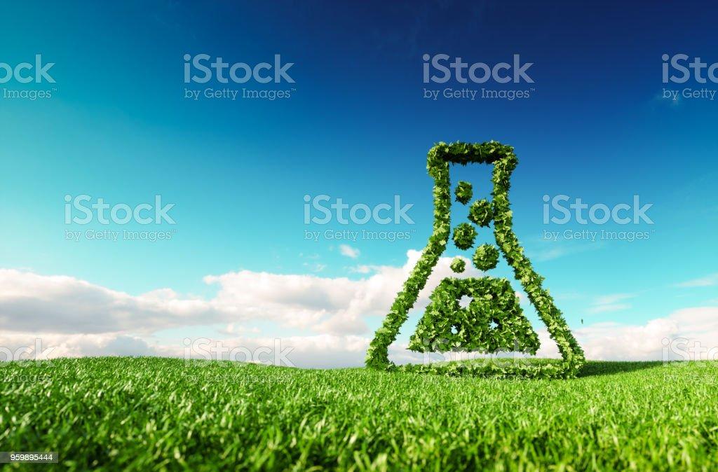 Umweltfreundlich, Bio, kein Abfall, keine Verschmutzung, Pestizid freie Landwirtschaft oder / und Biokraftstoff-Konzept. 3D-Rendering Daumen hoch Symbol auf frische Frühlingswiese mit blauen Himmel im Hintergrund. – Foto