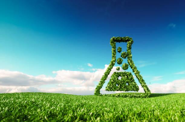 Respetuoso del medio ambiente, bio, no tiene desperdicio, cero contaminación, agricultura libre de pesticidas o / y el concepto de biocombustibles. Render 3D de pulgares arriba icono en Prado de primavera fresco con cielo azul de fondo. - foto de stock