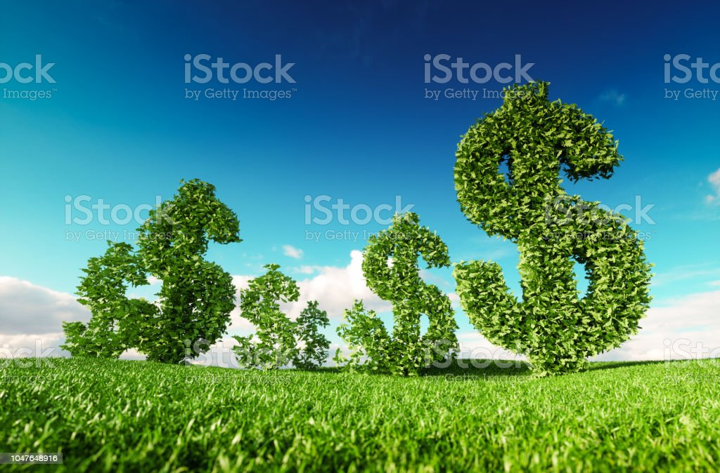 Unternehmen, grüne ÖKOPROFIT, Anbau von Geld und nachhaltige Wirtschaft Konzept. 3D-Rendering des grünen Dollar-Symbol auf frische Frühlingswiese mit blauen Himmel im Hintergrund. – Foto