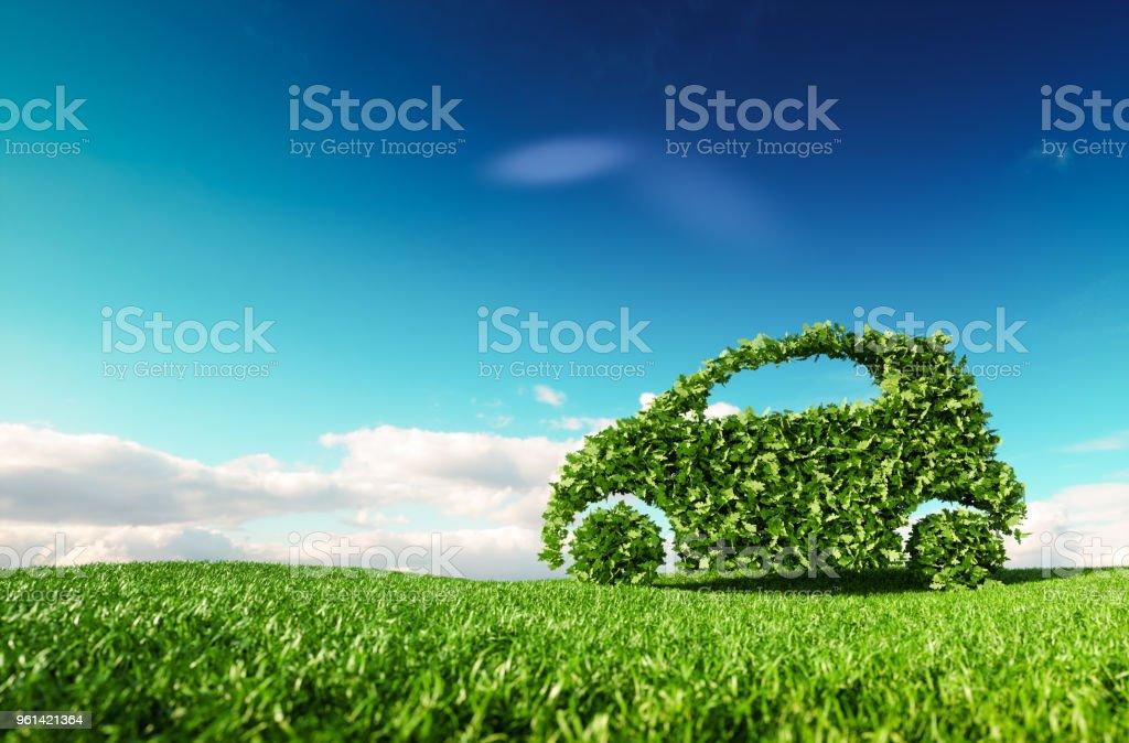 Eco-freundliche PKW-Entwicklung, klar Ökologie fahren, keine Verschmutzung und Emmission Verkehrskonzept. 3D-Rendering des grünen Auto-Symbol auf frische Frühlingswiese mit blauen Himmel im Hintergrund. – Foto