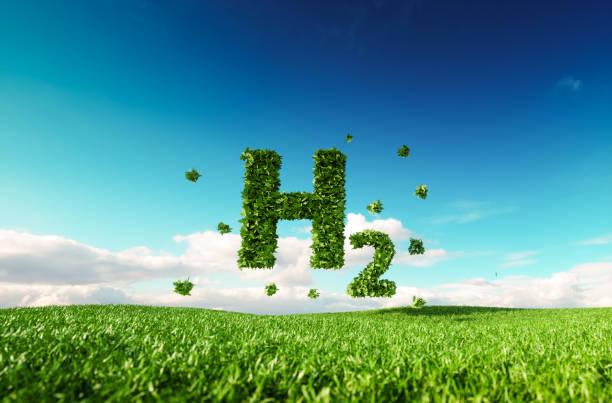 Eco-freundlich sauber Wasserstoff-Energie-Konzept. 3D-Rendering des Wasserstoff-Symbol auf frische Frühlingswiese mit blauen Himmel im Hintergrund. – Foto