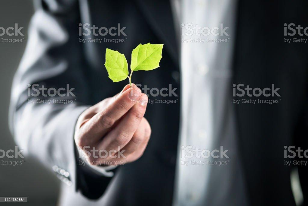 Eco amistoso ambiental abogado o empresario. Desarrollo sostenible, cambio climático, el concepto de huella de carbono y ecología. Leyes de medio ambiente, la energía o la conservación. Contaminación global. - foto de stock