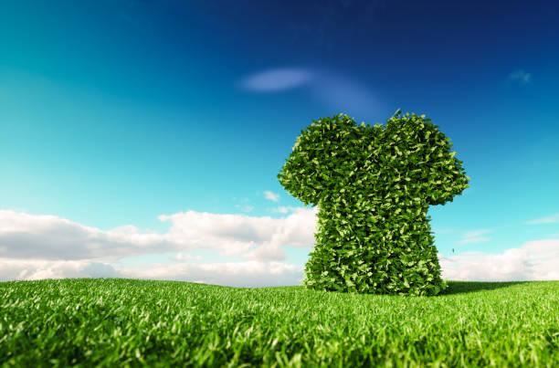 Eco-freundlich Fair-Trade-Mode-Konzept. 3D-Rendering T-shirt Symbol auf frische Frühlingswiese mit blauen Himmel im Hintergrund. – Foto