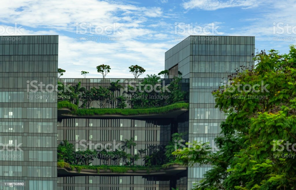 Eco Friendly Glass Building With Vertical Garden In Modern City