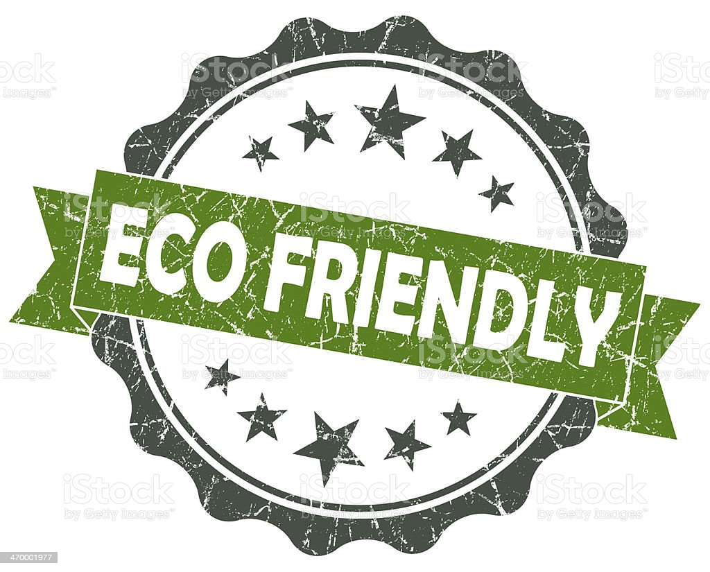 Eco FRIENDLY green grunge vintage seal isolated on white stock photo