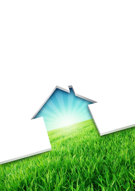Eco friendly house concept Cutting of a blank sheet, house shaped above a green environmental background real estate sign stock pictures, royalty-free photos & images