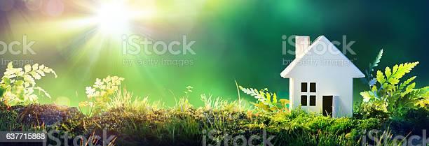 Eco friendly house paper home on moss in garden picture id637715868?b=1&k=6&m=637715868&s=612x612&h=ub7kibvzekdldna2di6nfss8gcwnre3tt1vv6qz3ntc=