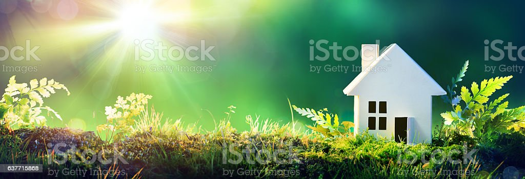Eco Friendly House - Paper Home On Moss In Garden stock photo