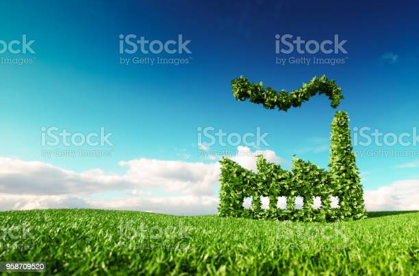 Eco friendly industry concept 3d rendering of green factory icon on picture id958709520?b=1&k=6&m=958709520&s=612x612&h=wekueocogzwxmio7hnwlohy3apvfes xemfd9imjqrq=