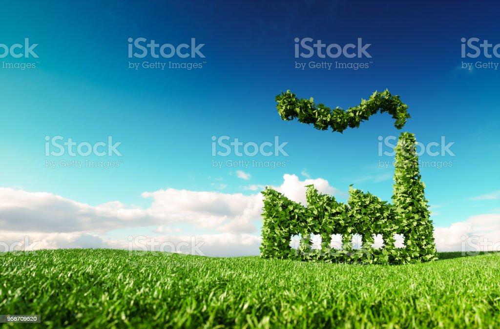 Eco-freundliche Industrie-Konzept. 3D-Rendering des grünen Fabrik-Symbol auf frische Frühlingswiese mit blauen Himmel im Hintergrund. – Foto