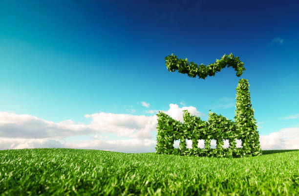 eco friendly industry concept. 3d rendering of green factory icon on fresh spring meadow with blue sky in background. - sustainable living stock pictures, royalty-free photos & images