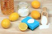 Baking soda (sodium bicarbonate), lemon, vinergar and salt.