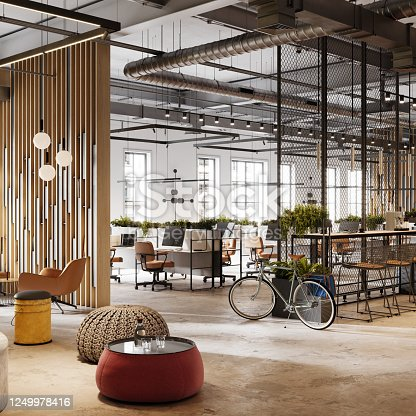 Eco friendly office space in 3D. Computer generated image of an open plan office interior with plants and a bicycle.