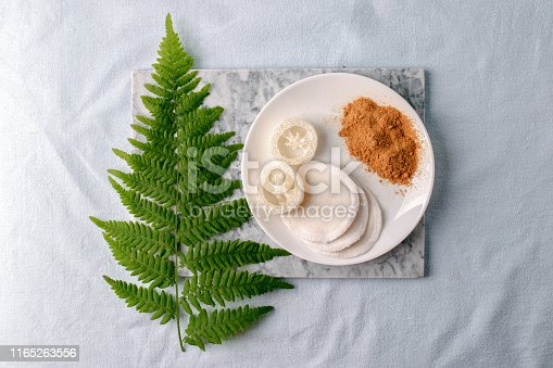 istock Eco friendly products for home cleaning, zero waste lifestyle, flat lay on white background. Mustard and natural luffa sponge on white plate and branch of fern 1165263556
