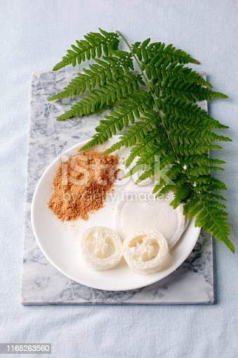istock Eco friendly products for home cleaning, zero waste lifestyle, flat lay on white background. Mustard and natural luffa sponge on white plate and branch of fern 1165263560