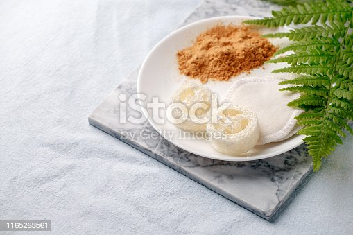 istock Eco friendly products for home cleaning, zero waste lifestyle, flat lay on white background. Mustard and natural luffa sponge on white plate and branch of fern 1165263561