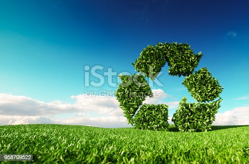 istock Eco friendly recyclation concept. 3d rendering of green recycle icon on fresh spring meadow with blue sky in background. 958709522