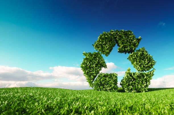 Eco-freundliche Kunststoffmaterial-Konzept. 3D-Rendering des grünen Papierkorb-Symbol auf frische Frühlingswiese mit blauen Himmel im Hintergrund. – Foto