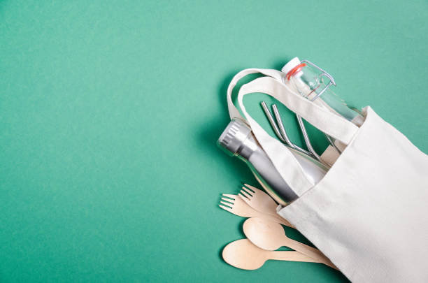 Eco friendly shopping bag with cutlery. Zero waste concept. Plastic free concept. stock photo