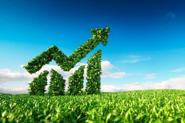concetto di crescita sostenibile ecosostenibile. - mercato luogo per il commercio foto e immagini stock